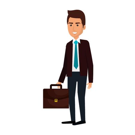 elegant businessman with portfolio avatar character vector illustration design
