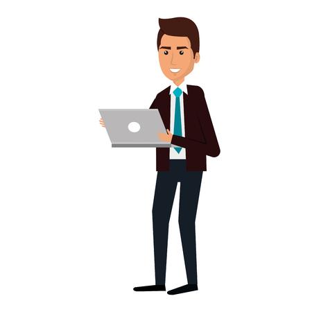 Elegante hombre de negocios usando portátil avatar carácter ilustración vectorial diseño
