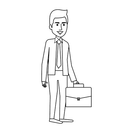 elegant businessman with portfolio avatar character vector illustration design