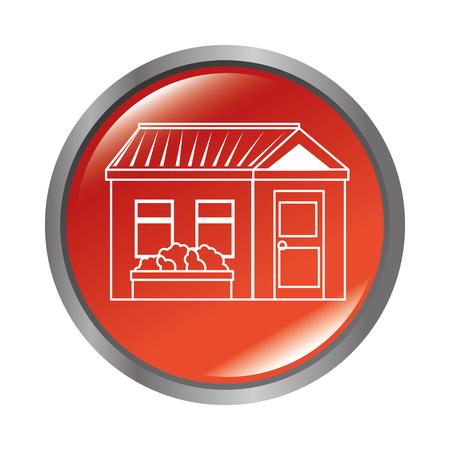 button with house icon over white background vector illustration Illusztráció