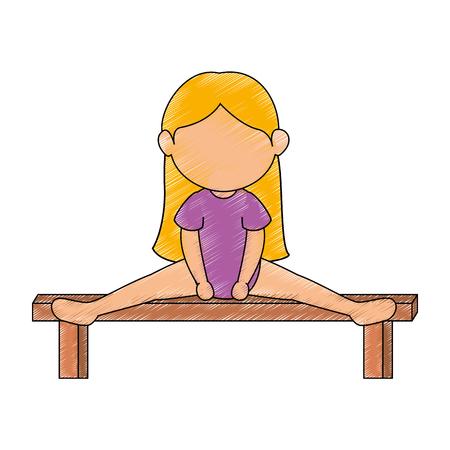 avatar Gymnast girl icon over white background colorful design vector illustration