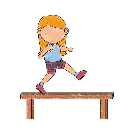 Avatar Icono de gimnasta chica sobre fondo blanco Ilustración de vector de diseño colorido Foto de archivo - 80860369