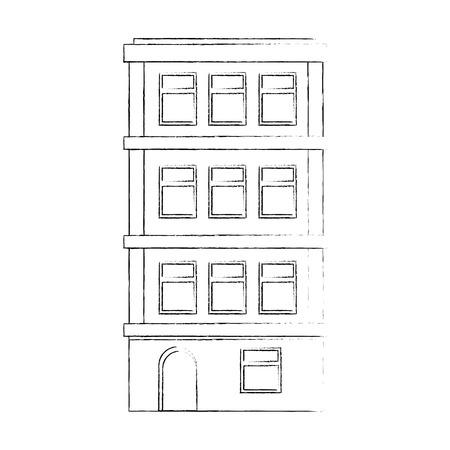Appartement gebouw pictogram over witte achtergrond vector illustratie Stockfoto - 80860963