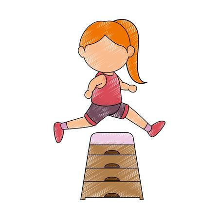 Avatar Icono de gimnasta chica sobre fondo blanco Ilustración de vector de diseño colorido Foto de archivo - 80860974