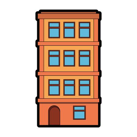 appartementsgebouw pictogram over witte achtergrond kleurrijk ontwerp vectorillustratie Stock Illustratie