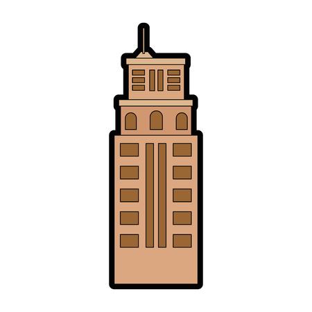 도시 건물 아이콘 위에 흰색 배경 벡터 일러스트 레이 션