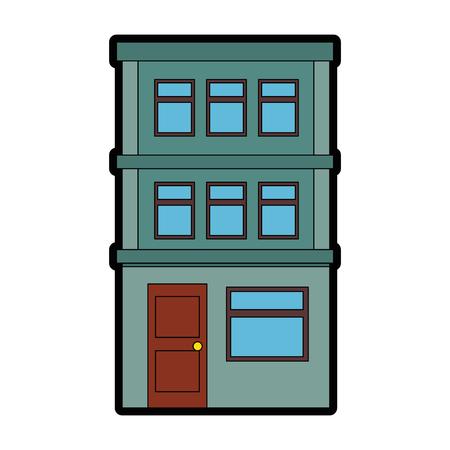 Appartementsgebouw pictogram over witte achtergrond kleurrijk ontwerp vectorillustratie Stockfoto - 80861068