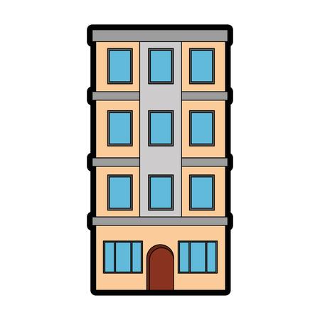 appartementsgebouw pictogram over witte achtergrond kleurrijk ontwerp vectorillustratie Stockfoto