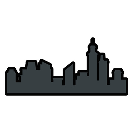 silhouette of urban city icon over white background colorful design vector illustration