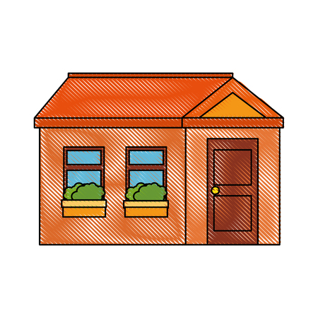 house icon over white background colorful design vector illustration