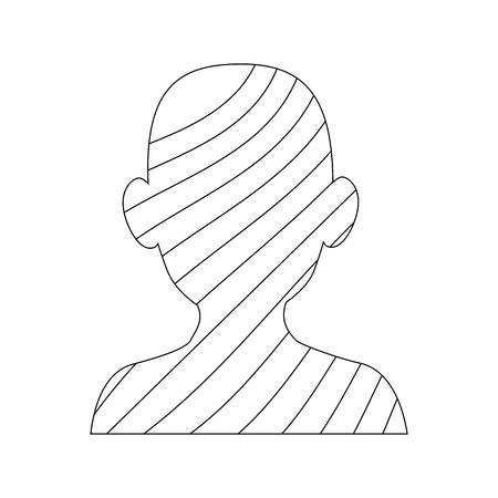 白い背景のベクトル図をストライプ アイコンを持つ男のシルエット