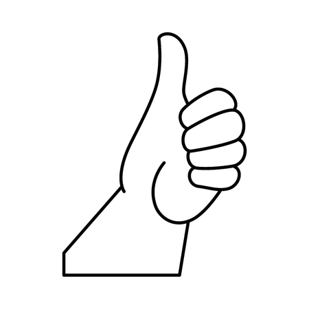 hand with thumb up icon over white background vector illustration
