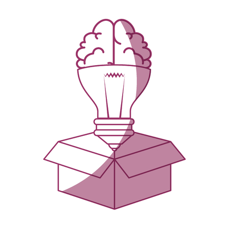 carton box with brain in bulb shape icon over white background vector illustration
