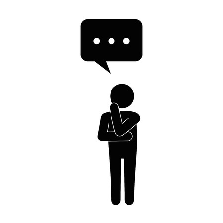 man standing with speech bubble icon over white background vector illustration