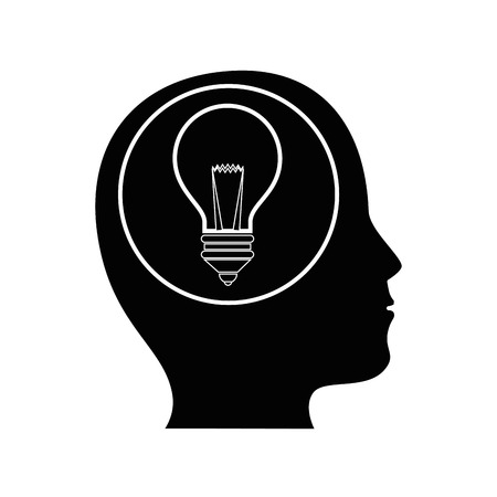 hoofd met gloeilamp pictogram over witte achtergrond vectorillustratie