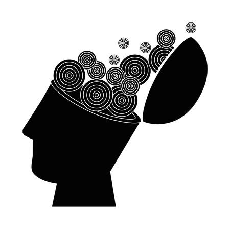 menselijk hoofd en cirkelvormige vormen pictogram over witte achtergrond vectorillustratie