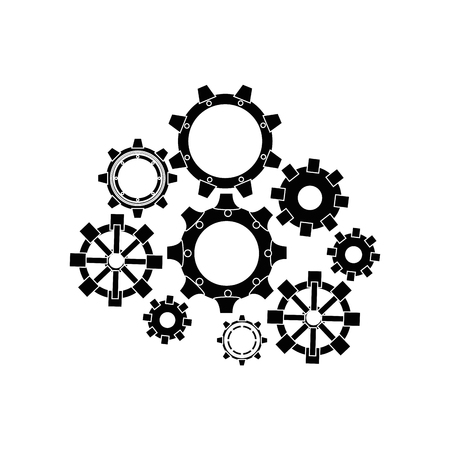 A gear wheels icon over white background vector illustration. Illustration