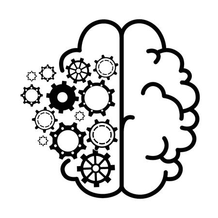 白い背景のベクトル図を脳と歯車車輪アイコン