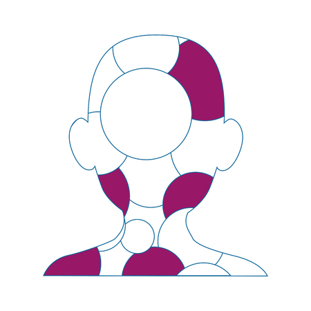 Hoofd met kleurrijke cirkelvormige pictogrammen over witte achtergrond vectorillustratie