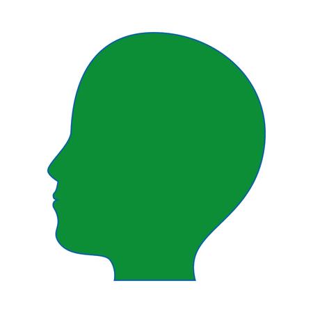 Menselijk hoofdpictogram over witte achtergrond kleurrijke ontwerp vectorillustratie Stock Illustratie
