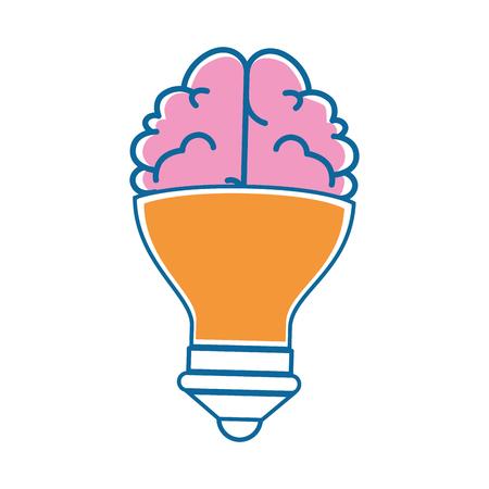 Hersenen met gloeilamp vorm icoon over witte achtergrond vector illustratie