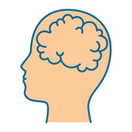 head with brain icon over white background colorful design vector illustration Ilustração
