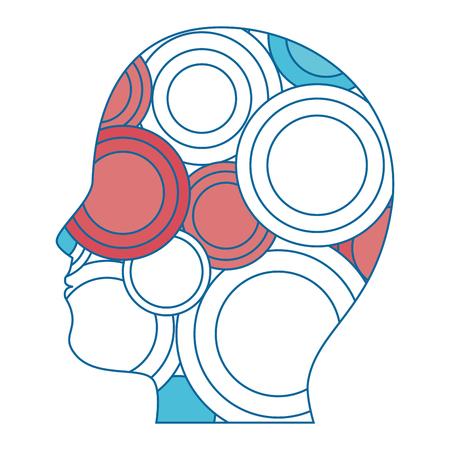 hoofd met kleurrijke cirkelvormige pictogrammen over witte achtergrond vector illustratie