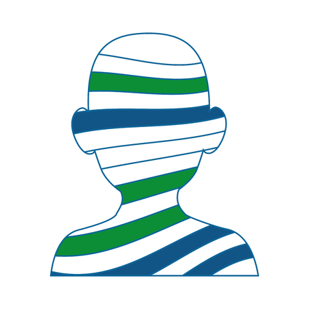head with colorful stripes icon over white background vector illustration Illusztráció