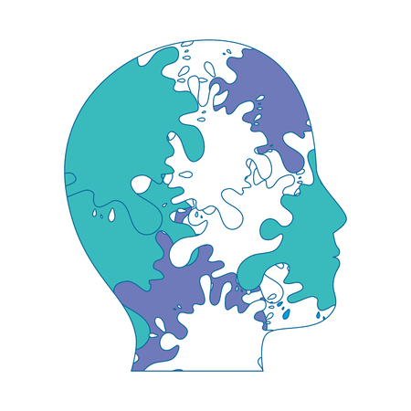 head with colorful pain splashes icon over white background vector illustration