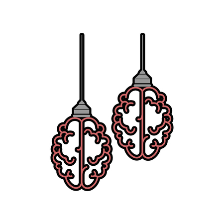Brains hanging icon over white background vector illustration