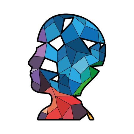 白い背景上の抽象図形アイコンをカラフルな頭ベクトル イラスト