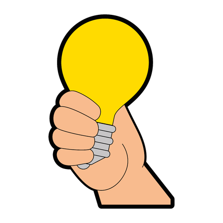 Hand holding a Light bulb icon over white background vector illustration Stock fotó - 80872491