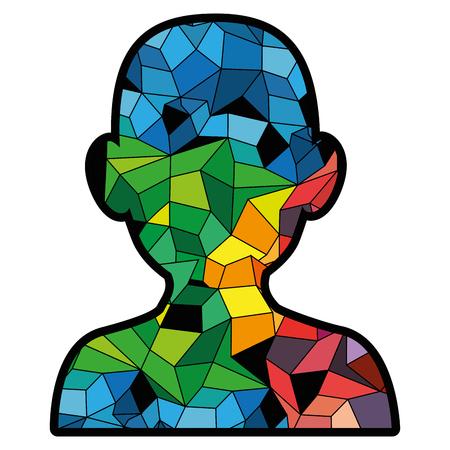 Kleurrijk hoofd met abstract vormenpictogram over witte vectorillustratie als achtergrond Stock Illustratie