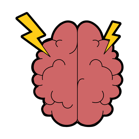 Brain with thunders icon over white background vector illustration Vectores
