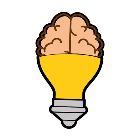 Brain with Light bulb shape  icon over white background vector illustration