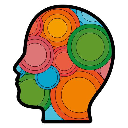白い背景のベクトル図を図形アイコンをカラフルな円形の頭