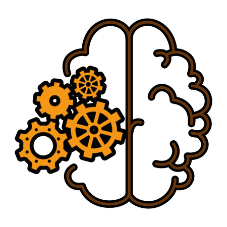Brain with gear wheels icon over white background vector illustration Stock Vector - 80872497