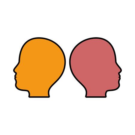Kleurrijk menselijk hoofdenpictogram over witte vectorillustratie als achtergrond