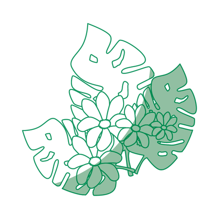 Tropical leaves icon over white background vector illustration