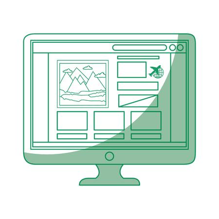 흰색 배경 벡터 일러스트 레이 션을 통해 페이지 아이콘을 여행하는 컴퓨터