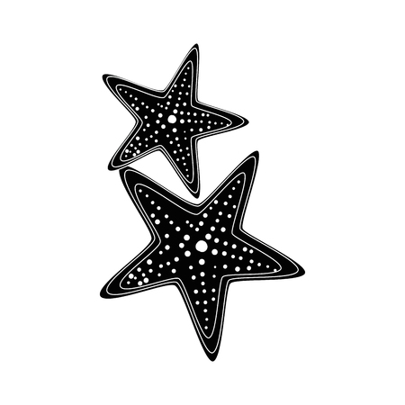 白背景ベクトル イラスト上の海の星アイコン  イラスト・ベクター素材