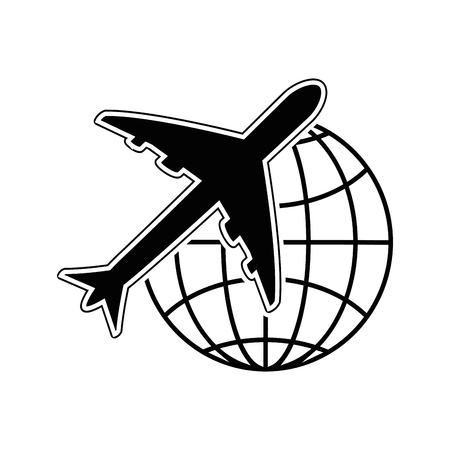 Airplane and global sphere icon over white background vector illustration Illustration