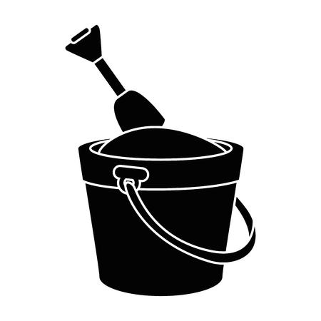 Bucket and shovel icon over white background vector illustration Иллюстрация