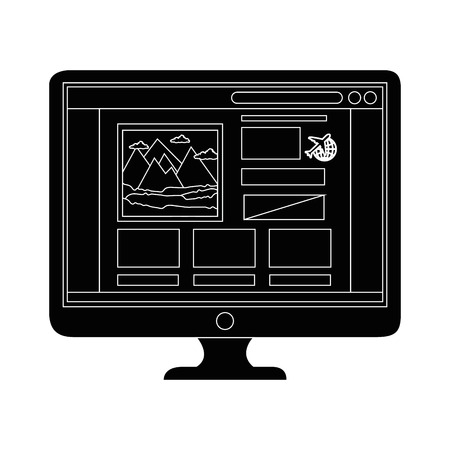 Computer with travelling page icon over white background vector illustration