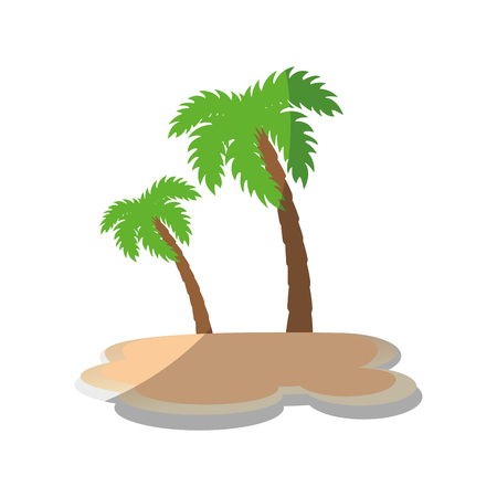 A tropical palms icon over white background vector illustration.