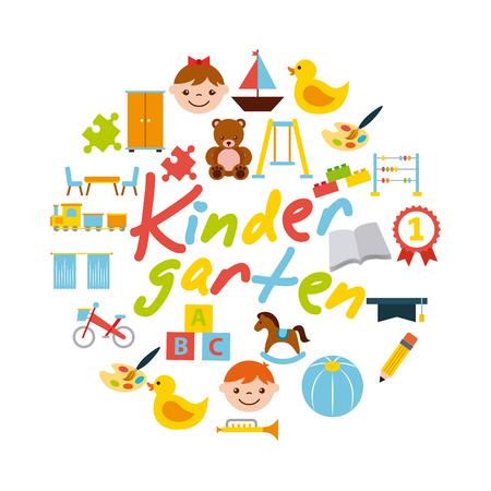 Pictogrammen set kindergarten vector illustratie ontwerp grafisch