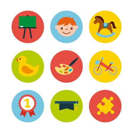icons set kinder garten vector illustration design graphic