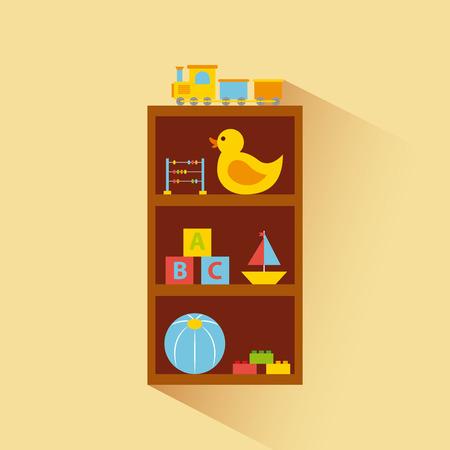 キャビネットのおもちゃ  イラスト・ベクター素材