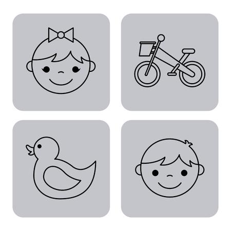 icons set kinder garten vector illustration design graphic