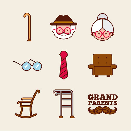 Grandparents related objects over beige background. Vector illustration.